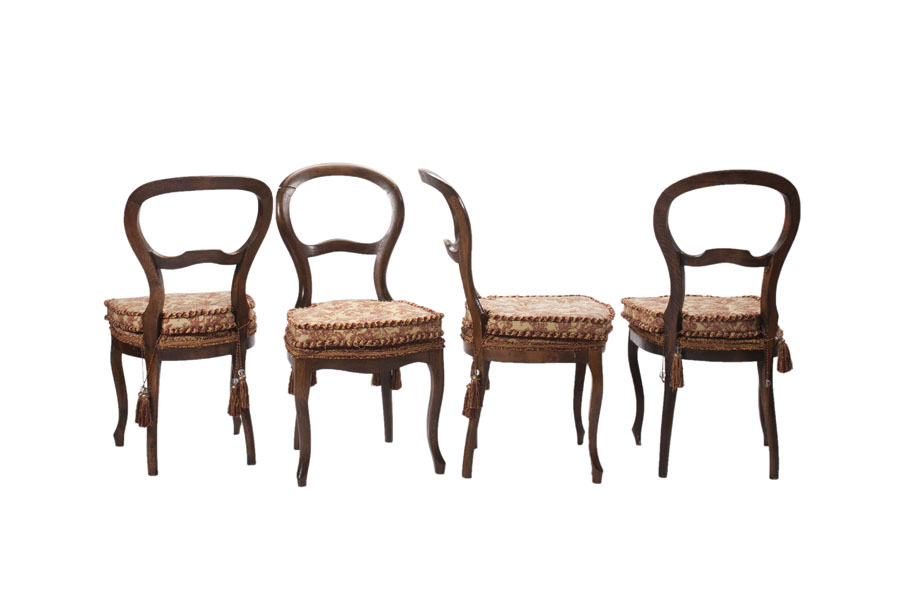 CC Set of 4 Queen Anne Antique Chairs view 2 - CC Set Of 4 Queen Anne Antique Chairs View 2 Couture Chateau