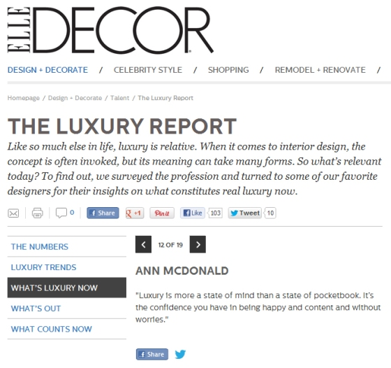 Elle Decor 2012 Luxury Now. In the company of the greats, am deeply humbled to be picked up on this topic.