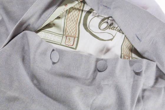 Covered Buttons & a peek at our custom Couture Chateau lining on those private label pillows...
